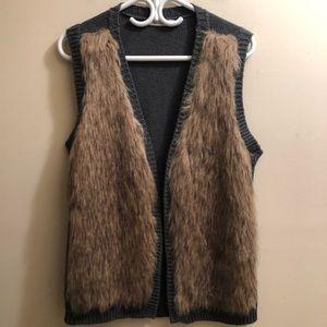 faux fur open front vest sleeveless sweater